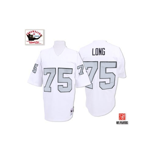 sale retailer 7b217 0ffa5 Mitchell And Ness Oakland Raiders 75 Howie Long White Silver ...