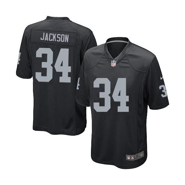 Men s Nike Oakland Raiders 34 Bo Jackson Game Black Team Color NFL Jersey eb12bda26