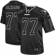 571f4c5fe ... Mens Nike Oakland Raiders 77 Lyle Alzado Elite Lights Out Black NFL  Jersey ...
