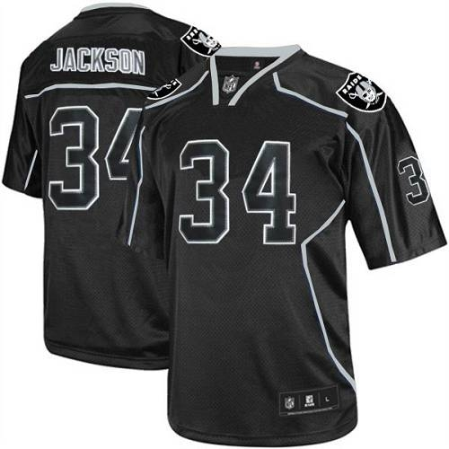 aed6df3d0 Reebok Oakland Raiders 34 Bo Jackson Lights Out Black Replica Throwback NFL  Jersey