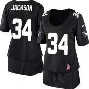 Women's Nike Oakland Raiders 34 Bo Jackson Limited Black Breast Cancer Awareness NFL Jersey