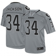 Youth Nike Oakland Raiders 34 Bo Jackson Game Lights Out Grey NFL Jersey