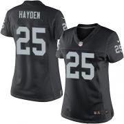 Women's Nike Oakland Raiders 25 D.J.Hayden Elite Black Team Color NFL Jersey