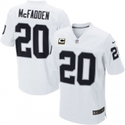 Men's Nike Oakland Raiders 20 Darren McFadden Elite White C Patch NFL Jersey