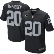 Men's Nike Oakland Raiders 20 Darren McFadden Elite Black Team Color C Patch NFL Jersey
