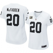 Women's Nike Oakland Raiders 20 Darren McFadden Elite White C Patch NFL Jersey