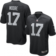 Men's Nike Oakland Raiders 17 Denarius Moore Game Black Team Color NFL Jersey