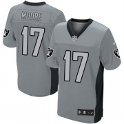 Men's Nike Oakland Raiders 17 Denarius Moore Elite Grey Shadow NFL Jersey
