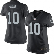 Women's Nike Oakland Raiders 10 Derek Hagan Limited Black Team Color NFL Jersey