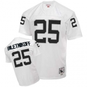 Mitchell and Ness Oakland Raiders 25 Fred Biletnikoff White Authentic Throwback NFL Jersey