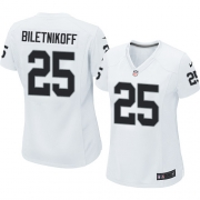 Women's Nike Oakland Raiders 25 Fred Biletnikoff Elite White NFL Jersey