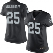 Women's Nike Oakland Raiders 25 Fred Biletnikoff Elite Black Team Color NFL Jersey