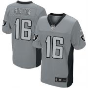 Men's Nike Oakland Raiders 16 George Blanda Elite Grey Shadow NFL Jersey