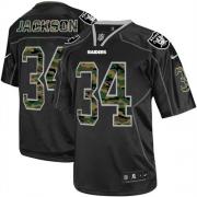 Men's Nike Oakland Raiders 34 Bo Jackson Elite Black Camo Fashion NFL Jersey