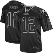 Men's Nike Oakland Raiders 12 Jacoby Ford Elite Lights Out Black NFL Jersey