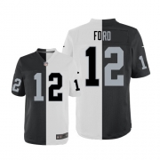Men's Nike Oakland Raiders 12 Jacoby Ford Elite Team/Road Two Tone NFL Jersey