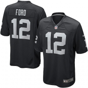 Men's Nike Oakland Raiders 12 Jacoby Ford Game Black Team Color NFL Jersey