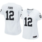 Women's Nike Oakland Raiders 12 Jacoby Ford Elite White NFL Jersey