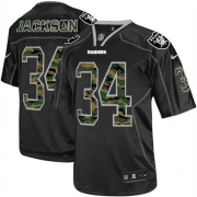 Men's Nike Oakland Raiders 34 Bo Jackson Game Black Camo Fashion NFL Jersey