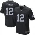 Men's Nike Oakland Raiders 12 Kenny Stabler Elite Black Team Color NFL Jersey