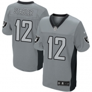 Men's Nike Oakland Raiders 12 Kenny Stabler Elite Grey Shadow NFL Jersey
