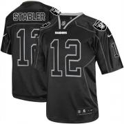 Men's Nike Oakland Raiders 12 Kenny Stabler Elite Lights Out Black NFL Jersey