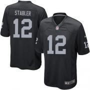 Men's Nike Oakland Raiders 12 Kenny Stabler Game Black Team Color NFL Jersey