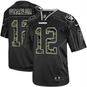 Men's Nike Oakland Raiders 12 Kenny Stabler Limited Black Camo Fashion NFL Jersey