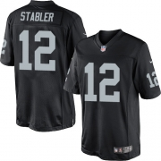 Men's Nike Oakland Raiders 12 Kenny Stabler Limited Black Team Color NFL Jersey