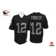 Mitchell and Ness Oakland Raiders 12 Kenny Stabler Black Team Color Authentic NFL Throwback Jersey