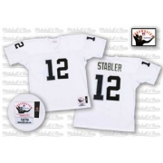 Mitchell and Ness Oakland Raiders 12 Kenny Stabler White Authentic NFL Throwback Jersey