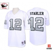 Mitchell and Ness Oakland Raiders 12 Kenny Stabler White with Silver No. Authentic NFL Throwback Jersey