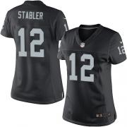 Women's Nike Oakland Raiders 12 Kenny Stabler Elite Black Team Color NFL Jersey