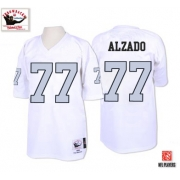Mitchell and Ness Oakland Raiders 77 Lyle Alzado White with Silver No. Authentic Throwback NFL Jersey