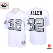 Mitchell and Ness Oakland Raiders 32 Marcus Allen White with Silver No. Authentic NFL Throwback Jersey