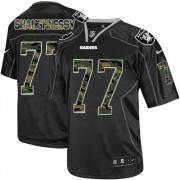 Men's Nike Oakland Raiders 77 Matt Shaughnessy Elite Black Camo Fashion NFL Jersey