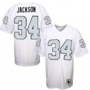 Mitchell And Ness Oakland Raiders 34 Bo Jackson White with Silver No. Authentic NFL Jersey