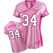 Nike Oakland Raiders 34 Bo Jackson Game Pink Women's Be Luv'd NFL Jersey