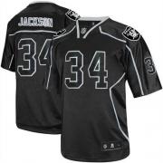 Reebok Oakland Raiders 34 Bo Jackson Lights Out Black Premier EQT Throwback NFL Jersey