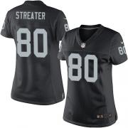 Women's Nike Oakland Raiders 80 Rod Streater Elite Black Team Color NFL Jersey