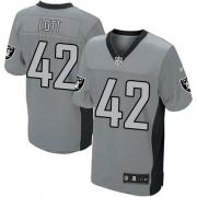 Men's Nike Oakland Raiders 42 Ronnie Lott Elite Grey Shadow NFL Jersey