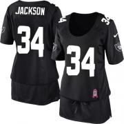 Women's Nike Oakland Raiders 34 Bo Jackson Game Black Breast Cancer Awareness NFL Jersey