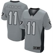 Men's Nike Oakland Raiders 11 Sebastian Janikowski Elite Grey Shadow NFL Jersey