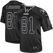 Men's Nike Oakland Raiders 81 Tim Brown Game Lights Out Black NFL Jersey