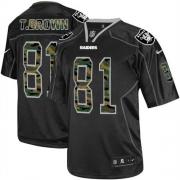 Men's Nike Oakland Raiders 81 Tim Brown Elite Black Camo Fashion NFL Jersey