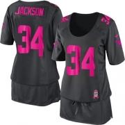 Women's Nike Oakland Raiders 34 Bo Jackson Elite Dark Grey Breast Cancer Awareness NFL Jersey