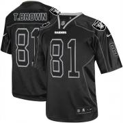 Men's Nike Oakland Raiders 81 Tim Brown Elite Lights Out Black NFL Jersey