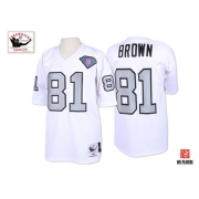 Mitchell And Ness Oakland Raiders 81 Tim Brown 1994 White Silver No. with 75TH Patch Authentic NFL Jersey