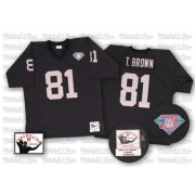 Mitchell and Ness Oakland Raiders 81 Tim Brown Black Team Color Authentic NFL Throwback Jersey