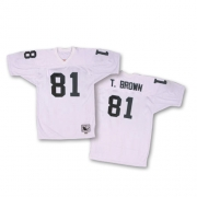 Mitchell and Ness Oakland Raiders 81 Tim Brown White Authentic Throwback NFL Jersey